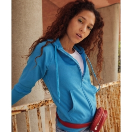 Lightweight Hooded Sweat Jacket Lady-Fit Fruit of the Loom 62-150-0