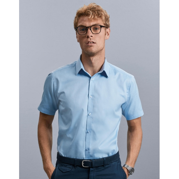 Chemise En Herringbone Manches Courtes Russell R-963M-0