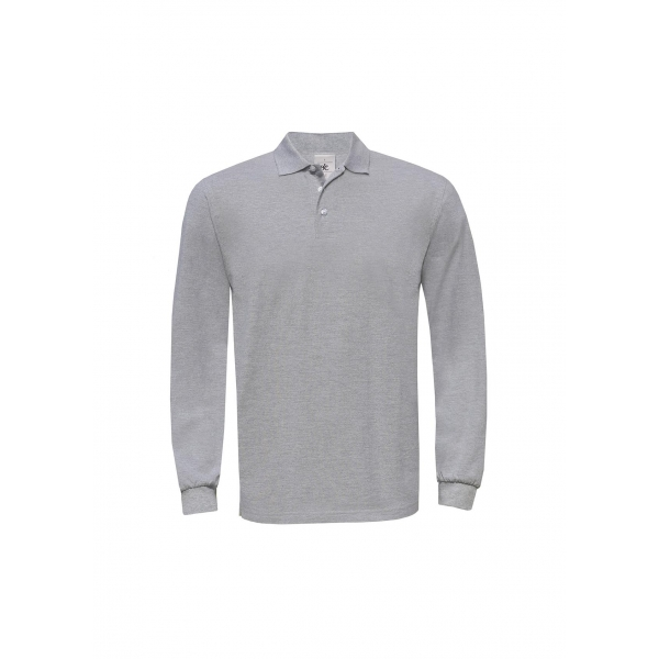 Polo homme manches longues B&C Heavymill LSL PU423